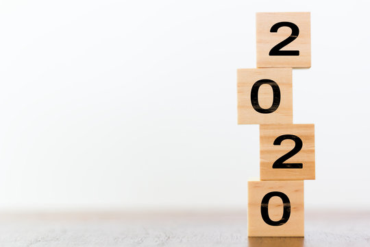 2020 on wooden cubes with copy space. New year's concept