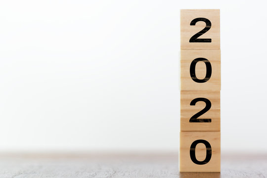 New year 2020 on wooden cubes with copy space
