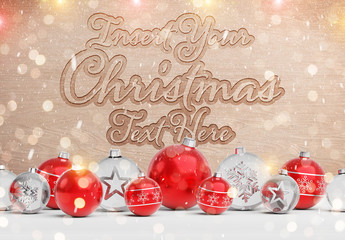 Wooden Text Effect with Christmas Decorations