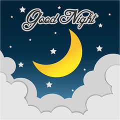 Good Night. Hand drawn typography poster. Card good night vector image