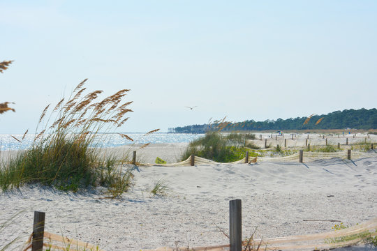 White sand beach on Dauphin Island, Alabama