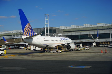 NEWARK, NJ -2 NOV 2019- View of planes from United Airlines (UA) at Newark Liberty International Airport (EWR) in New Jersey near New York City, a major hub for United.