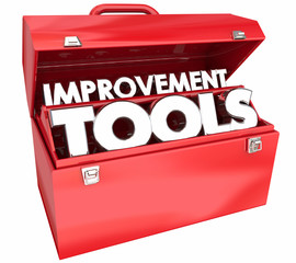 Improvement Tools Continuous Self Help Toolbox Words 3d Illustration