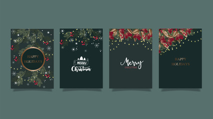 Christmas and happy season greeting card set. Gold, blue, red, white colors. Gift tags with gold glitter texture. Snowflakes and Christmas tree patterns.