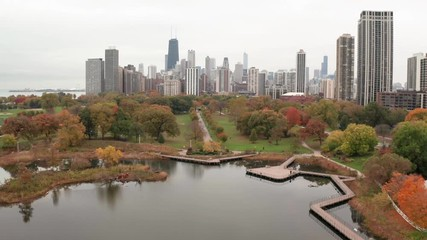 Fototapete - Chicago downtown skyline aerial drone flying moving