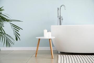 Modern bathtub of stylish interior