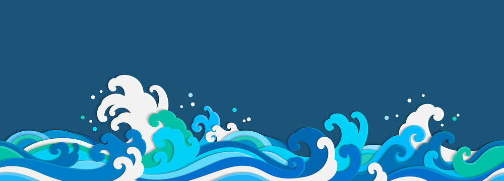 Sea wave paper cut seamless wallpaper.