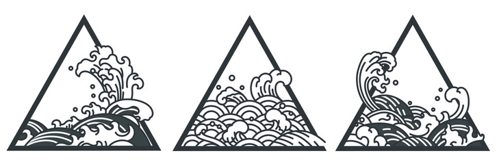 Japan water wave triangle tattoo.