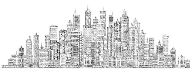 Modern City skyline, highly detailed hand drawn vector illustration