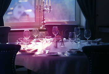 Lovely photo of glass glasses serving for lunch