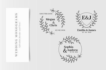Set of Elegant Wedding Monograms, Initial Logo Creator