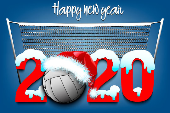 Snowy New Year numbers 2020 and volleyball ball