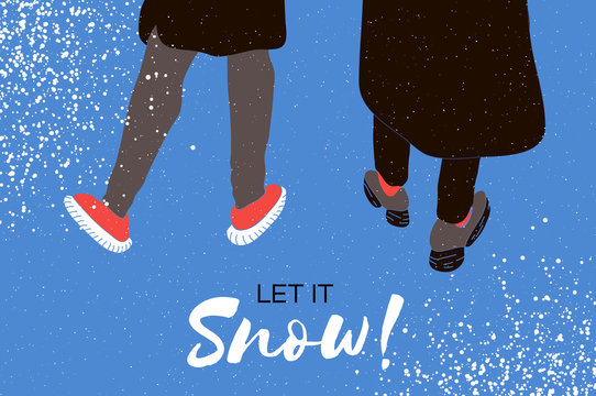 People walking. Let it snow card with snowflakes on blue background. Merry Christmas happy new year winter illustration.