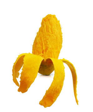Peeled ripe mango fruit isolated on white background with clipping path