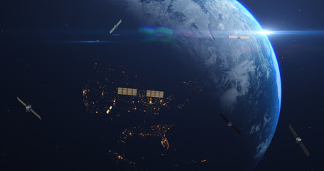 Fast Camera Zoom To The Planet Earth. Satellites Flying Around Orbiting Planet Earth. Technology Related Scene. 4K CG Animation Of Dramatic Scene. Earth Images From NASA. 3D Illustration Render