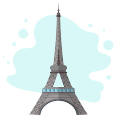 High quality, detailed most famous World landmark. An image of Paris Eiffel Tower Icon.