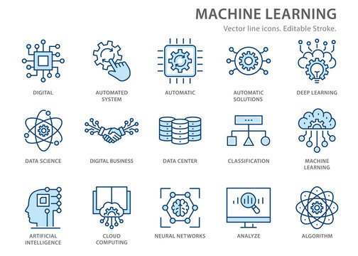 Machine learning line icons set. Vector illustration. Editable stroke.