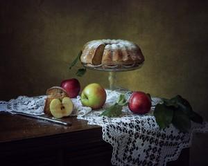 Still life with  apple pie