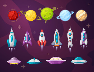 Cosmos and ufo flat vector illustrations set