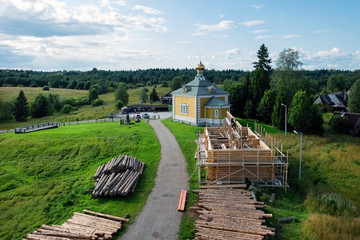 Construction of a new wooden building. Holguin Convent. Russia, Tver Region. The source of the volga river
