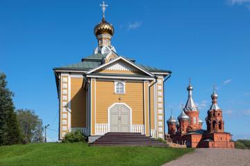 Church of St. Nicholas the Wonderworker in the Holguin Monastery. Village Volgoverkhovye, Tver region, Russia. Source of the Volga
