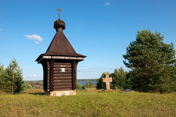Wayside cross and chapel. Tver region, Russia. On the way from Varangians to Greeks