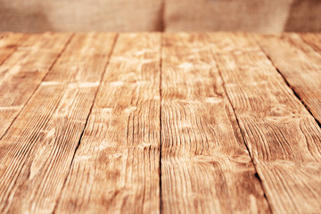 Wooden plank background in perspective for placement. Copy space.