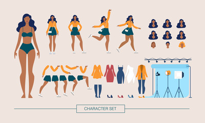 Fashion Model Character Constructor Flat Vector