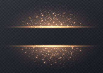 Lines with stars and sparkles isolated on transparent background. Golden luminous background with dust and glares. Glowing vector light effect.