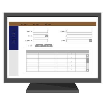 デスクトップパソコンのデータ入力画面