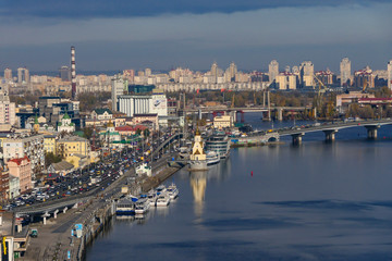 Foto op Canvas Barcelona Kiev, Ukraine The skyline of Kiev and the Dnieper River
