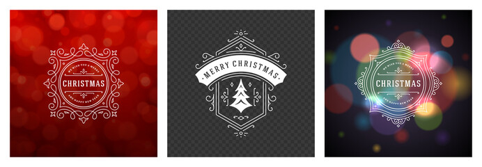 Christmas photo overlays vintage typographic design ornate decoration symbols with holidays wishes vector illustration
