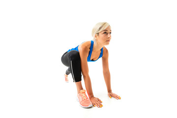 Sport caucasian woman do exercise and start to run, picture isolated on white background