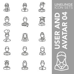 Thin line Icon set of User and Avatar 04. Linelinge are the best pictogram pack unique design for all dimensions and devices. Vector graphic, symbol, logo and website content.