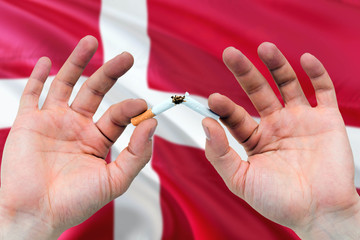 Denmark quit smoking cigarettes concept. Adult man hands breaking cigarette. National health theme and country flag background.