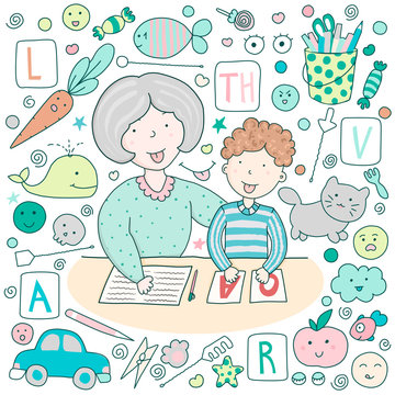 Classes with speech therapist and set of cute kawaii icons. Staging sounds. Children vector illustration in cartoon style