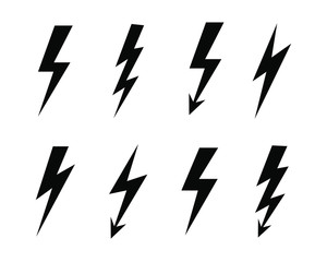 Lightning bolt outline icon flash collection. Electric power symbol logo set. Vector illustration image. Isolated on white background.