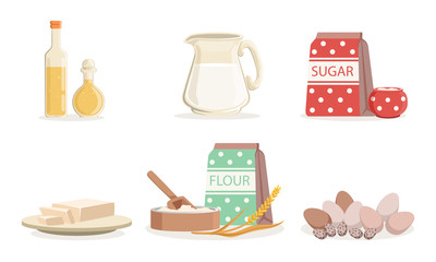 Ingredients For Cooking Pancakes Or Baking Vector Illustration Set Isolated On White Background