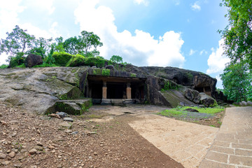 Kanheri caves city Mumbai state maharashtra in India. It is a ancient monuments and old temple building related to God budha. It is situated in the mid of forest in borivali on 21 August 2019 Wall mural