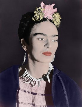 Frida Kahlo 1907-1954 Mexican artist painted in a distinctive style influenced by surrealism realism and Mexican folk art