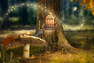 Enchanted fairy forest with magical shining window in hollow tree, large mushroom with bird and flying magic butterfly leaving path with luminous sparkles
