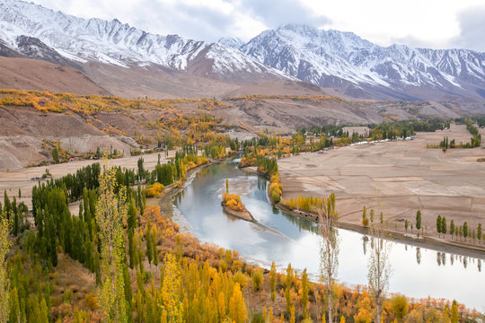 Phandar valley during autumn season in the northern area of the Pakistan