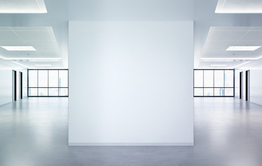 Blank squared wall in office mockup with large windows and sun passing through 3D rendering