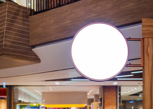 Signboard shop Mock up Circle shape Blank signage shop Retail