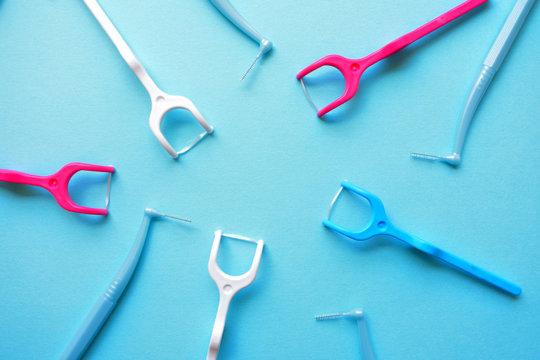 歯ブラシ 歯間ブラシ デンタルフロス 背景素材