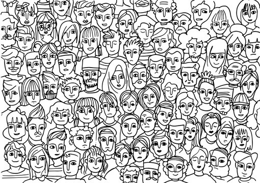 faces of people -seamless pattern of hand drawn faces of various ethnicities