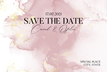 Fototapeta Hand-drawn marble texture in soft pink colors with watercolor fluid ink and golden foil glitter. Chic business cover, Save the Date card obraz