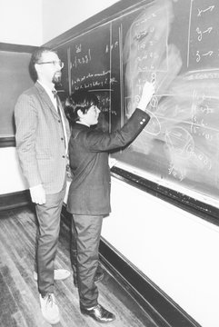 Professor Harry Dym, works with his 12 year old student, Matthew Marcus at New York City College