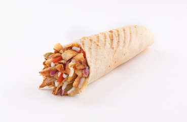 shawarma wrap with onion and sauce on white background