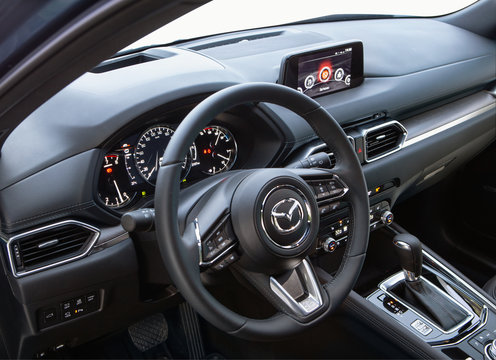 Kyiv, Ukraine - August 16, 2019: New Mazda CX-5 dashboard